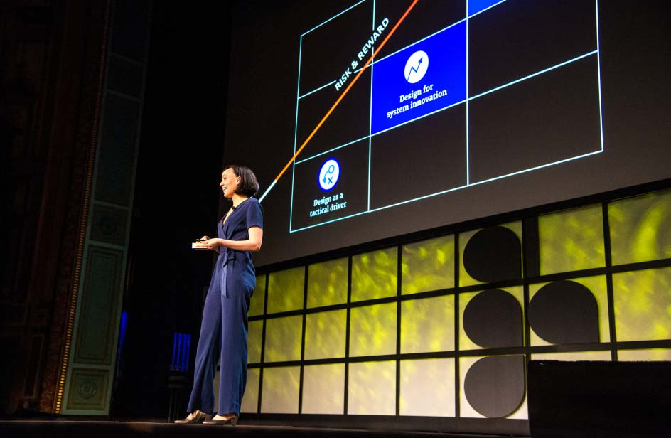 Ashleigh Axios opening the 2019 AIGA Design Conference, photo by Frank Aymami Photography.