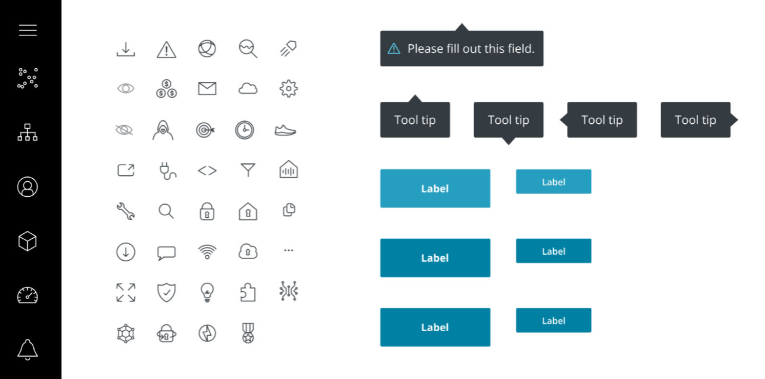 Assets created to build the design system behind the platform.